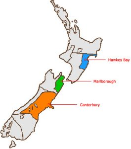 New Zealand map wine